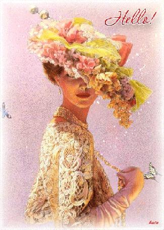 Анимация Ретро девушка в шляпе украшенной цветами с украшением на шее на фоне бабочек (HELLO / Привет) автор Лейла (© qalina), добавлено: 03.08.2015 22:08