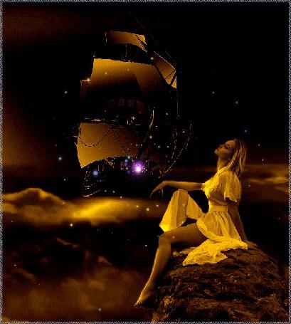 Анимация Девушка сидит у моря на камне, вдали плывет огромный корабль под парусами (© царица Томара), добавлено: 04.08.2015 06:50