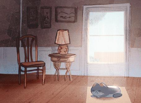 Анимация Кошка спит на полу, греясь в лучах солнца, ночью убегает и смотрит на луну