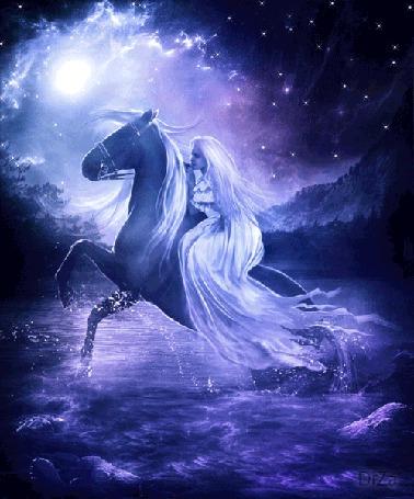 Анимация В лунную ночь девушка переезжает реку на лошади (© Ловетта), добавлено: 05.08.2015 13:27