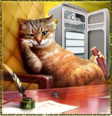 Анимация Кот ест сосиску и наблюдает за мухой на фоне холодильник и чернильница с пером (© qalina), добавлено: 06.08.2015 17:13