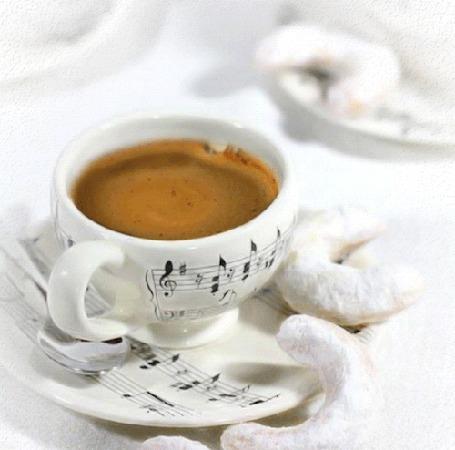 Анимация Чашка кофе с ароматом нот (© phlint), добавлено: 07.08.2015 07:52