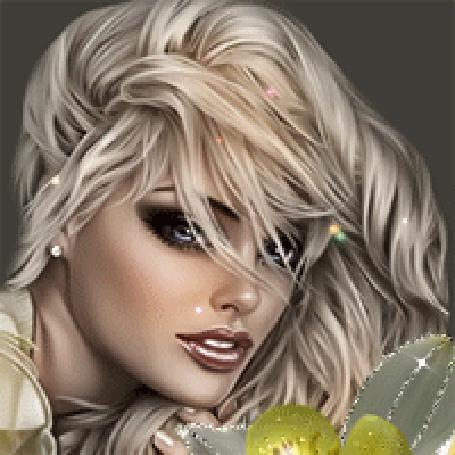 Анимация Красивая девушка блондинка с голубыми глазами с цветком (© qalina), добавлено: 07.08.2015 18:33