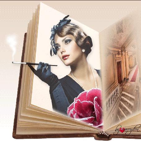 Анимация На странице книги девушка с сигаретой в мундштуке (© zmeiy), добавлено: 08.08.2015 10:52