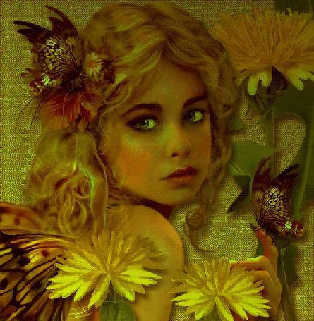 Анимация Грустная девушка на фоне цветов и бабочек (© qalina), добавлено: 08.08.2015 13:07