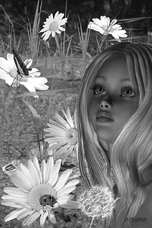 Анимация Девочка на сером фоне с ромашками и бабочками, автор Орсана