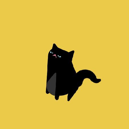 Анимация Черный кот пугается и вытягивает хвост (© Seona), добавлено: 09.08.2015 12:55