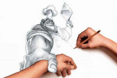 Анимация Нарисованный повар со зверским выражением лица замахивается топором на руку художника, как ему кажется неудачно его нарисовавшего (© Миропия_Мира), добавлено: 12.08.2015 09:54