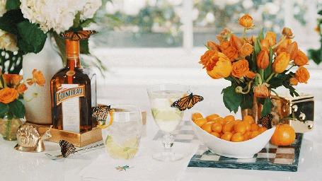 Анимация Натюрморт с бабочками на столе, бутылке, фужере