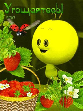 Анимация Пчелка на фоне клубники в корзинке и божьей коровки / Угощайтесь / nfqyf/