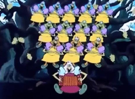 Анимация Хор бабаежек исполняет веселую, залихватскую песню. Фрагмент из мультфильма Летучий корабль (© Георгий Тамбовцев), добавлено: 13.08.2015 13:06
