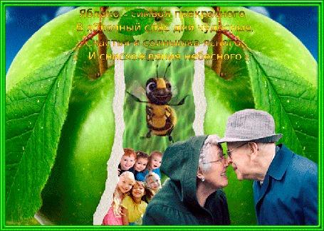 Анимация Яблочный спас, на фоне яблока кружит пчела, пожилые люди смотрят друг на друга с любовью и улыбаются, за ними стоят дети - их внучата (© ДОЛЬКА), добавлено: 14.08.2015 02:23