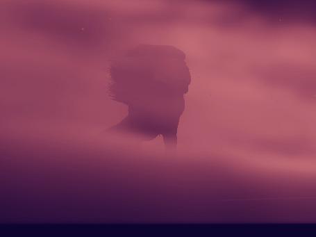 Анимация Муфаса в окружении облаков, на фоне неба, мультик The lion king / Король лев