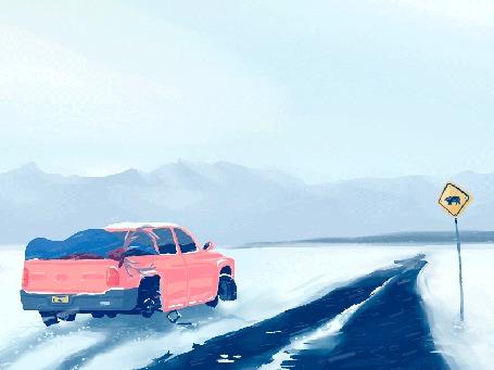 Анимация Машина стоит у дороги, после аварии, под сильной снежной пургой