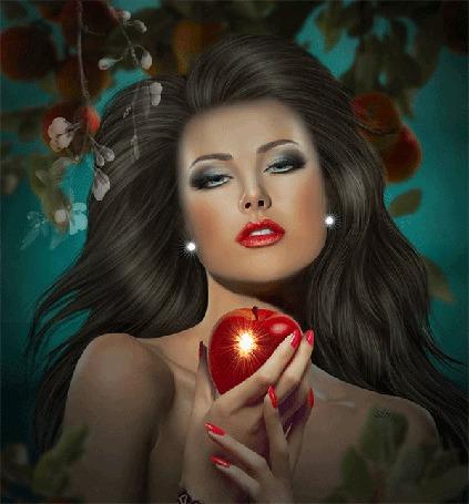 Анимация Девушка с лучистым яблоком в руках на фоне распускающейся ветки с цветами, Sima (© Natalika), добавлено: 17.08.2015 08:48