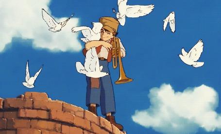 Анимация Вокруг Pazu / Пазу из аниме Tenkuu no Shiro Laputa / Небесный замок Лапута летают голуби (© zmeiy), добавлено: 17.08.2015 09:02