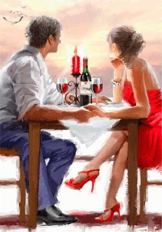 Анимация Мужчина и девушка за столиком пьют вино и держаться за руки, любуясь розовым закатом (© царица Томара), добавлено: 18.08.2015 14:51