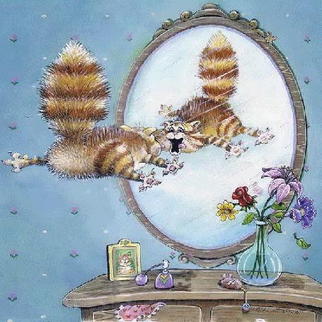 Анимация Кот увидел свое отражение в зеркале (© Миропия_Мира), добавлено: 19.08.2015 12:52