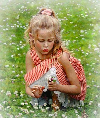 Анимация Девочка отрывает лепестки на цветах (© phlint), добавлено: 20.08.2015 08:02