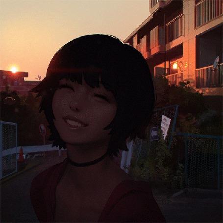 Анимация Улыбающаяся девушка на фоне города, процесс рисования, ву Илья Кувшинов