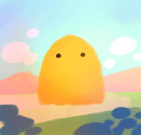 Анимация Милый желтый монстрик улыбается (© Krista Zarubin), добавлено: 21.08.2015 18:00