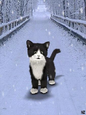 Анимация Котенок на мосту в зимнее время года ловит мышку / НЗ/