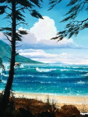 Анимация Море на фоне неба деревьев и гор