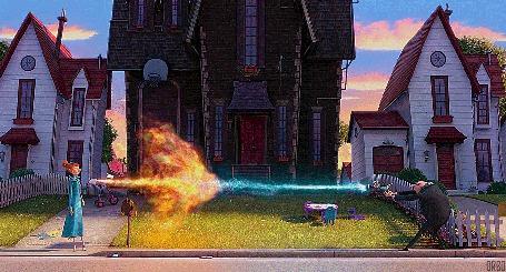 Анимация Люси Уайлд и Грю, сражаются стихиями на фоне дома, мультика Гадкий Я 2 / Despicable Me 2