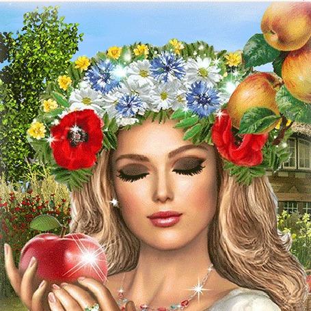 Анимация Девушка блондинка с голубыми глазами, в веночке из цветов на голове, стоит под веткой яблони с плодами и держит в руке красное яблоко с зеленым листочком