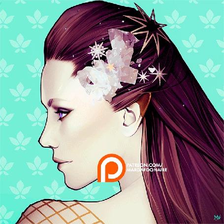 Анимация Девушка с украшением на волосах (© zmeiy), добавлено: 23.08.2015 07:09