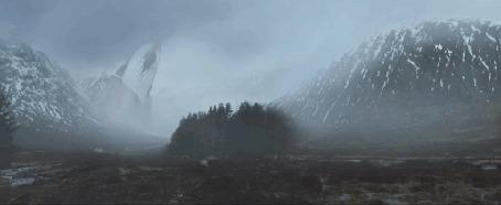 Анимация Кит пролетает над горами
