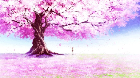 Анимация Девушка стоит под цветущей сакурой (© chucha), добавлено: 26.08.2015 00:06