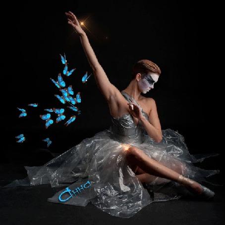 Анимация Балерина в окружении бабочек и бликов (© Bezchyfstv), добавлено: 27.08.2015 23:06