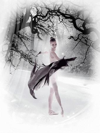 Анимация Балерина кружится в танце с черной прозрачной тканью в руках на фоне зимнего леса (© царица Томара), добавлено: 28.08.2015 04:04