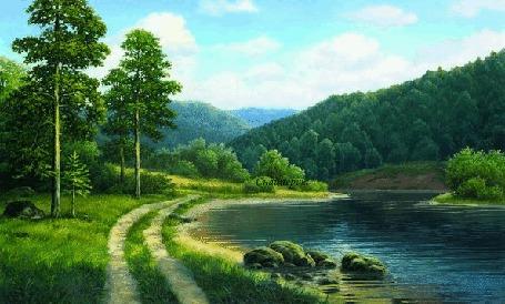 Анимация По берегам реки расположен лес, на фоне голубое небо и облака (© Svetlana), добавлено: 29.08.2015 07:36