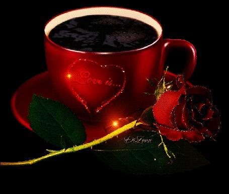 Анимация Чашка кофе с розой, love is (это любовь) (© zmeiy), добавлено: 29.08.2015 09:40