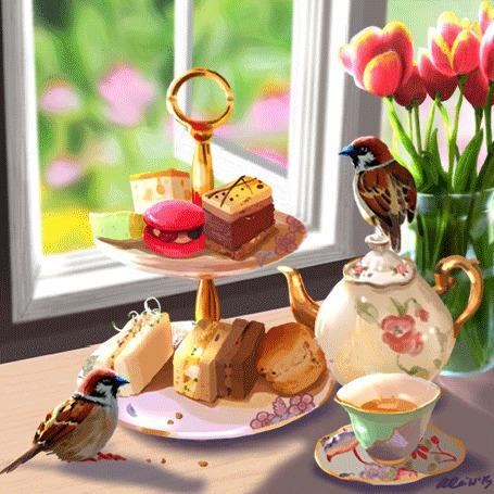 Анимация Птички прыгают возле чайника и сладостей (© Krista Zarubin), добавлено: 31.08.2015 11:51