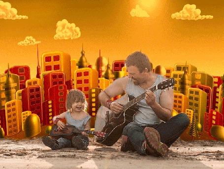 Анимация На фоне сказочного города освещенного Солнцем, мужчина с ребенком сидят и играют на гитарах