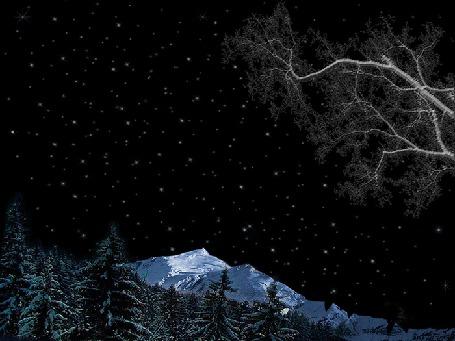 Анимация Звездное ночное небо в горах, проплывающая по небу планета