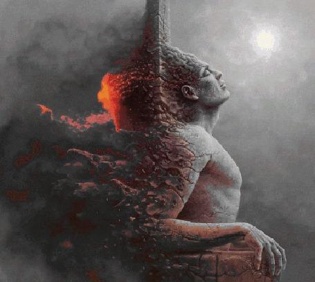 Анимация Сидящий неподвижно мужчина с огненной изнанкой