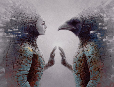Анимация Фигуры в масках девушки и Гора смотрят друг другу в глаза