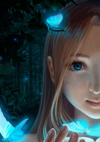 Анимация Девушка с мотыльками, на фоне леса (© 16061984), добавлено: 07.09.2015 00:08
