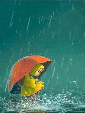 Анимация Девочка под дождем, в брызгах воды (© chucha), добавлено: 07.09.2015 00:26
