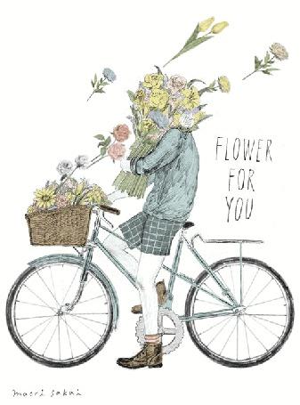 Анимация Парень на велосипеде с корзиной цветов, flower for you (цветы для тебя) (© zmeiy), добавлено: 07.09.2015 07:50