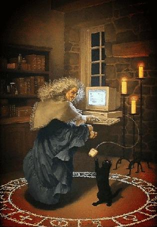 Анимация В центре магического круга начертанного на полу, сидит колдунья за компьютером, черная кошка став на задние лапы ловит передними лапами компьютерную мышку