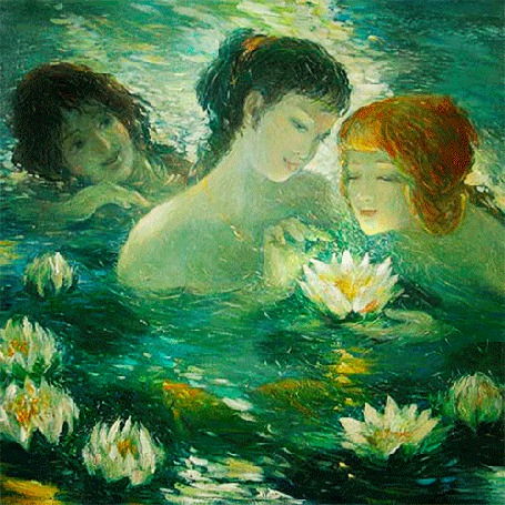 Анимация Девушки в воде рассматривают цветущие кувшинки (© Миропия_Мира), добавлено: 08.09.2015 17:57
