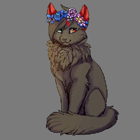 Анимация Волчица с разноцветными глазми, и венком на голове (© zmeiy), добавлено: 09.09.2015 08:54