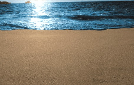 Анимация Море и следы на песке