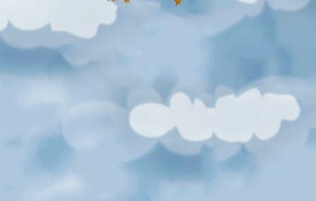 Анимация Вместе с перелетными птицами кот на воздушном шаре летит на юг