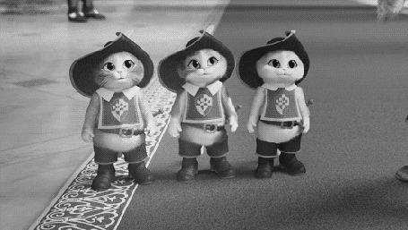 Анимация Три котенка снимают шляпу и один из них смешно падает, момент из мультфильма Кот в сапогах (Три Чертенка)